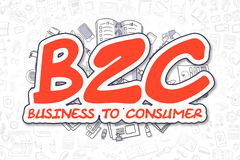 B2C - Doodle Red Word. Business Concept. Stock Images