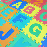 A, B, C, E, F,G and J text jigsaw tile floor on white background Stock Images