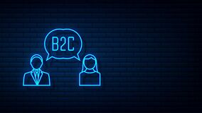 B2C icon, business to client. Motion graphics.
