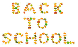 B A C K  T O  S C H O O L text composed of autumn maple leafs Stock Images