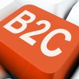 B2c klucz Znaczy biznes Konsumpcyjny sprzedawanie Lub kupienie Zdjęcie Stock