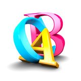 A B C letters, education and pedagogy concept, 3d letters blue, yellow and pink. Stock Images