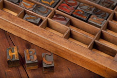 A, B and C letters in vintage type. A, B and C letters in vintage wooden letterpress type (Abbey typeface) with old typesetter case in background, image can be stock photos