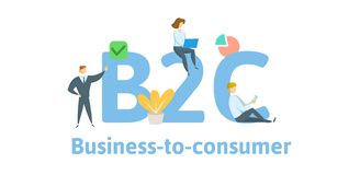 B2C, negocio al consumidor Concepto con palabras claves, letras, e iconos Ejemplo plano del vector Aislado en blanco ilustración del vector