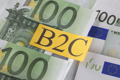 B2C på valuta för europeisk union Arkivbild