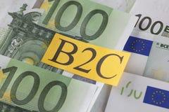 B2C sur la devise d'Union européenne Photographie stock