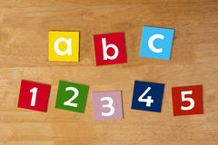 A b c & 1 2 3 4 5 - word sign series for school children. Abc & 12345 - sign in lower case letters for school children - education & learning series stock photos