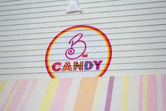 B Candy store sign stock images