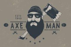 Bûcheron barbu avec la hache Image libre de droits