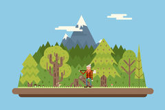 Bûcheron en bois sous le concept de montagne Photo stock
