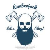 Bûcheron Skull avec la barbe et le vecteur croisé de haches Images stock