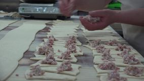 B?ckerei- und Fleischtorten stock footage