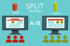 A-B comparison. Split testing. Concept with desktop computer  Royalty Free Stock Photos