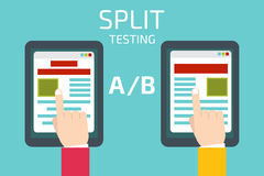 A-B comparison. Split testing. Concept with tablet computer  Stock Images