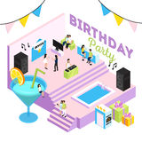 B-Day Party Isometric Composition Stock Photography