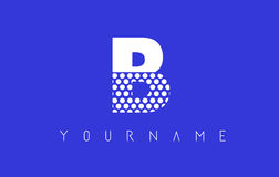 B Dotted Letter Logo Design with Blue Background. Stock Images