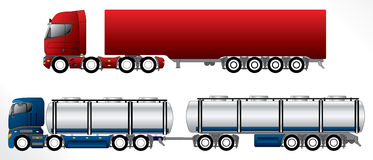 B double road train set. B double road trains with 4 axles on pulling truck Stock Images