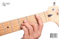 B flat major guitar chord tutorial Stock Photo
