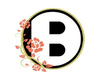 B floral roses monogram vector logo royalty free illustration