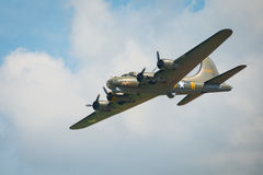 B17 Flying Fortress. Duxford, UK - 25th May 2014: B17 Flying Fortress 'Memphis Belle' at Duxford Airshow Royalty Free Stock Photo