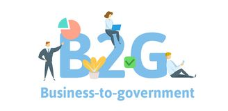 B2G Business to Government. Concept with keywords, letters, and icons. Flat vector illustration. Isolated on white royalty free illustration