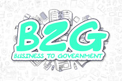 B2G - Doodle Green Word. Business Concept. stock illustration