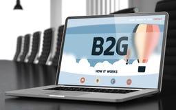 B2g op Laptop in Conferentiezaal 3d Royalty-vrije Stock Foto