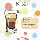 B-52. Hand drawn illustration of cocktail. Stock Image