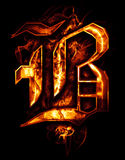 B, illustration of  word with chrome effects and red fire on bla. Ck Royalty Free Stock Images
