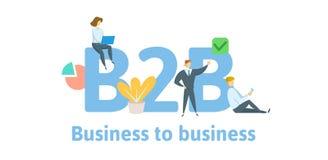 B2B, interempresarial Conceito com palavras-chaves, letras, e ícones Ilustração lisa do vetor Isolado no branco ilustração royalty free