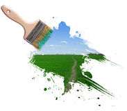 błękit muśnięcia pola zieleni niebo fotografia stock