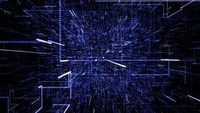 B??kitna abstrakcjonistyczna wirtualna przestrze? 3d ilustracyjny latanie przez cyfrowych dane tunelu ilustracja wektor
