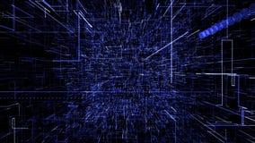 B??kitna abstrakcjonistyczna wirtualna przestrze? 3d ilustracyjny latanie przez cyfrowych dane tunelu royalty ilustracja
