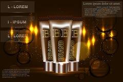 B kräm- annonser Vektorillustration med makeupfundamentröret Royaltyfria Bilder