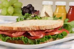 B.l.t Sandwich und Früchte Lizenzfreie Stockfotografie