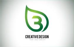 B Leaf Logo Letter Design with Green Leaf Outline Stock Images