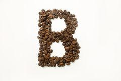 B the letter. alphabet of coffee. Coffee beans. concept of healthy eating. photo for your design. horizontal orientation of the sheet stock photos