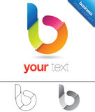 B Letter Design Element. Modern vector design element with the letter b in lower case, folded colorful paper concept Stock Image