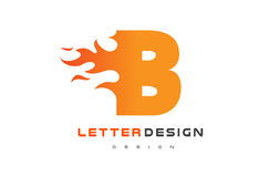 B Letter Flame Logo Design. Fire Logo Lettering Concept. Royalty Free Stock Photo