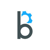 B letter and gear combination. Minimal illustration of a B letter blended with gear that can be used for logo or as isolated graphic element Royalty Free Stock Image