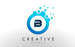 B Letter Logo. Blue Dots Bubble Design Vector Royalty Free Stock Photography