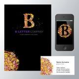 B letter logo mozaic. B letter - logo design concept illustration. Abstract t letter logo sign for business company. B letter logo corporate identity - visit stock image