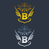B letter logo. Silver and gold wings symbol. Silver A letter logo template for air company.eps8,eps10 Royalty Free Stock Photo
