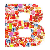 B Letter  made of giftboxes Royalty Free Stock Photos