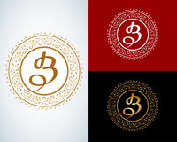 B letter monogram. Boutique Luxury Vintage Royalty Free Stock Images