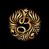 B letter monogram in golden color. Boutique Luxury Vintage Royalty Free Stock Photos