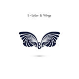 B-letter sign and angel wings.Monogram wing vector logo template Stock Images