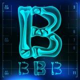 B Letter Vector. Capital Digit. Roentgen X-ray Font Light Sign. Medical Radiology Neon Scan Effect. Alphabet. 3D Blue. Light Digit With Bone. Medical, Pirate Stock Photo