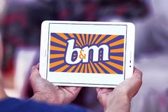 B&M European Retail Value logo. Logo of B&M European Retail Value on samsung tablet . B&M Bargains is now one of the leading variety retailers in the United Royalty Free Stock Photo