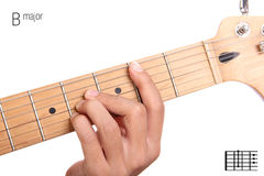 B major guitar chord tutorial Royalty Free Stock Photos